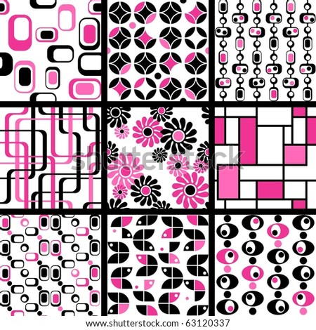 Collection of mod seamless patterns in pink and black(Eps10); jpg version also available
