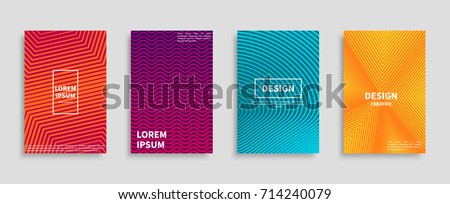 Collection of modern banners isolated on grey with inscriptions and geometric pattern backgrounds. Colorful vector illustrations