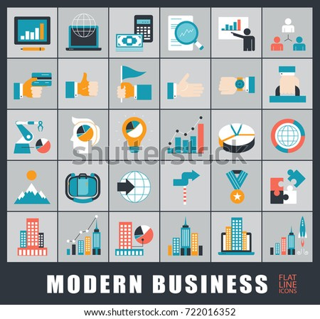 Collection of modern business icons. Premium quality icons for business and finances. Set of business icons.
