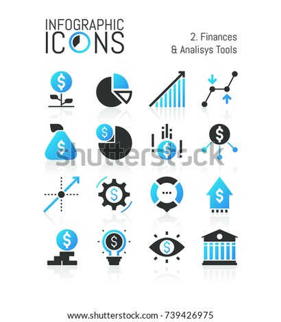 Collection of modern finance and analysis tools icons: banking, income growth, money earning, financial market instruments. Vector illustration for website, mobile application, presentation, brochure.