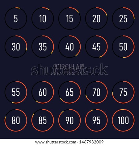 Collection of modern futuristic circular progress loading bar. Graphic design element can be used for graphical user interface, vector illustration
