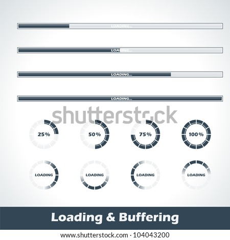 Collection of modern loading and buffering design elements and progress loading bars