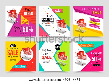Collection of modern sale banner template. Vector illustrations for marketing, online shopping, mobile banner, advertising poster, ads, mailings and seasonal sales.