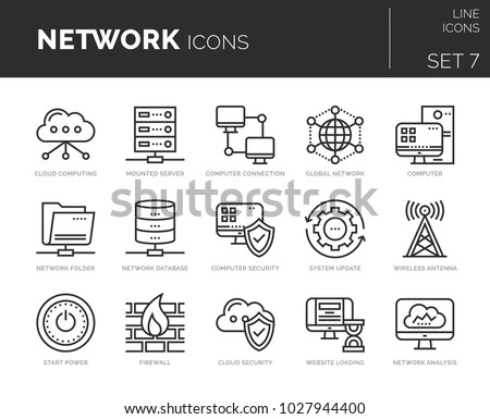 Collection of modern thin line icons set of network elements. Simple mono linear pictogram pack. Vector symbols for web.