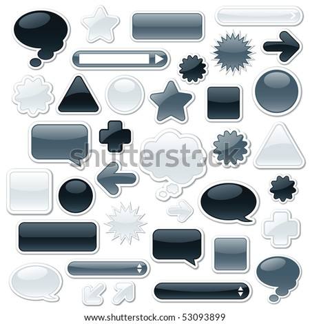 Collection of monochromatic, glossy web elements including: arrows, search bars, speech and thought bubbles - stock vector