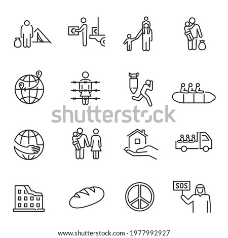 Collection of monochrome simple refugees icon vector illustration. Set of displaced person, homeless, poor, shelter, evacuate, persecution, prison, escape isolated. Concept of international problem Stockfoto ©