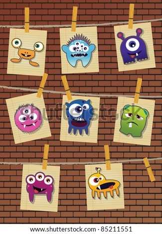 Collection of monsters on brick wall, vector