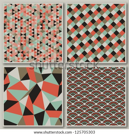 Collection of mosaic seamless patterns. Vector illustration.