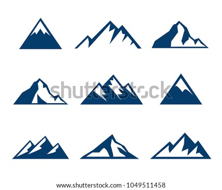 Collection of mountains icons - symbols