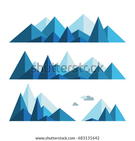 collection of mountains in blue