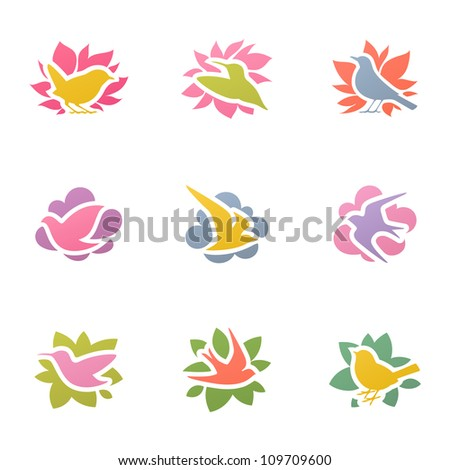 Collection of multicolored birds. Elements for design.