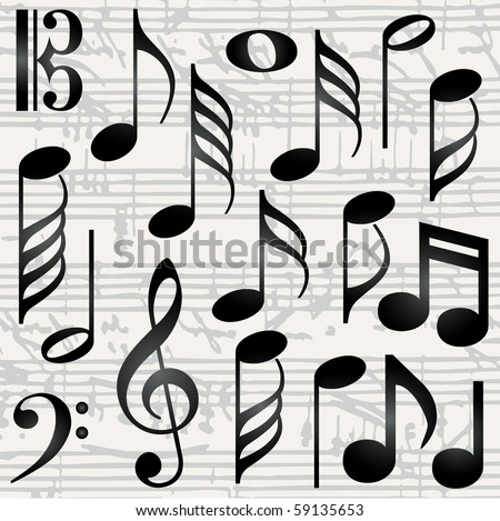 stock vector Collection of music symbols vector