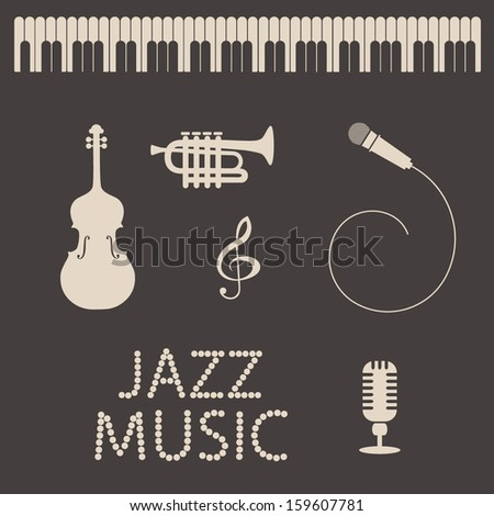 Collection  of musical instruments and objects. Audio and music set .  Vector Illustration.