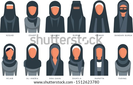 Collection of Muslim traditional hijab type models, arab women in shayla, dupatta, tuding, esarp, chador, al-amira, burga, khimar, bandari burga vector Illustrations on a white background Photo stock ©