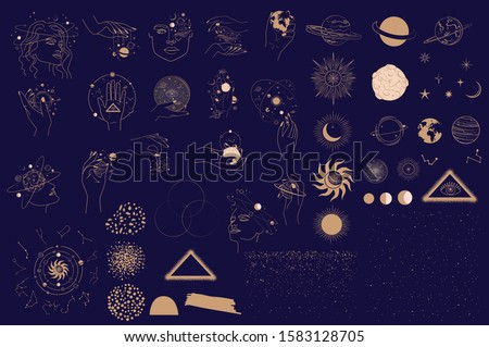 Collection of Mystical and Astrology objects, Woman face, Space objects, planet, constellation, magic ball, human hands. Minimalistic objects made in the style of one line. Editable vector illustratio