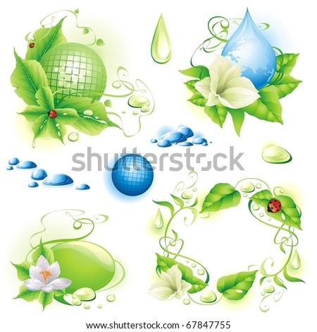 Collection of nature design elements. (vector illustration)