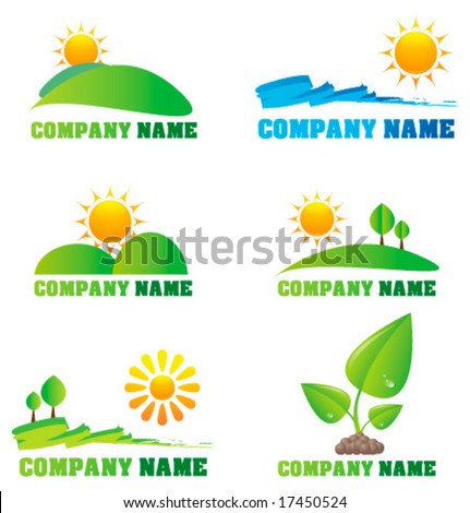 Collection of nature logos and icons