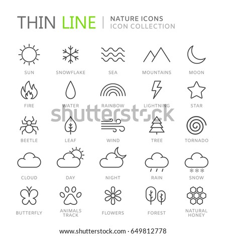 collection of nature thin line