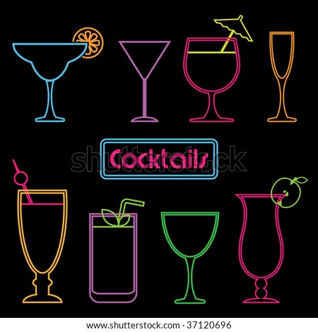 collection of neon cocktail symbols