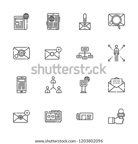 Collection of 16 news outline icons include icons such as networking, newspaper, email, network, voice recorder, news reporter #1203802096