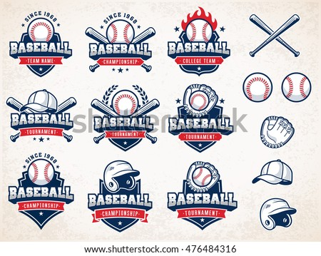 Collection of nine colorful Vector Baseball logo and insignias, presented with a set of baseball equipment illustrations