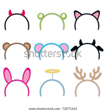Collection of nine cute and sweet costume headbands for carnival