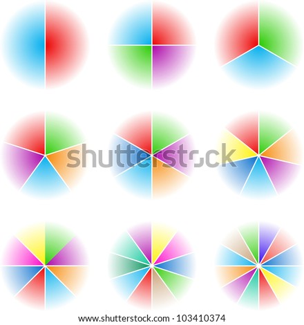 Collection of nine cyclic elements of the presentation - stock vector