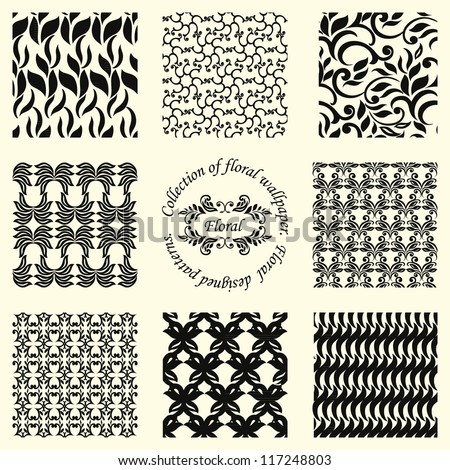 Collection of nine floral patterns