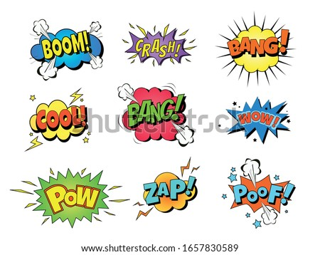 Collection of nine multicolored comic sound Effects. Vector cartoon explosions with different emotions