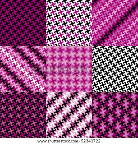Collection of nine trendy puzzle patterns in magenta, pink and black.
