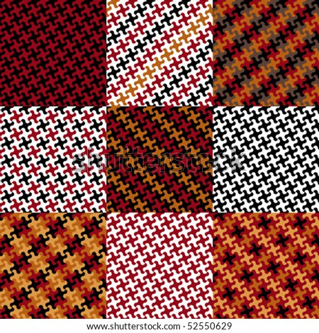Collection of nine trendy puzzle patterns made from the same puzzle piece.