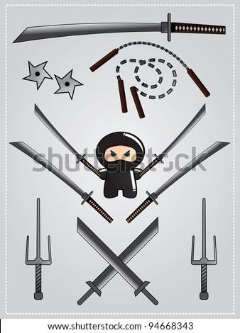Collection of ninja weapon with cute ninja character holding katana, vector