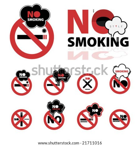 Collection of no smoking signs