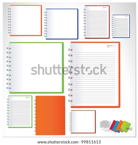 Collection of notebook designs. Vector illustration. Easy editable.