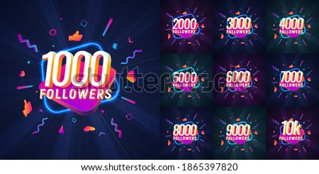 Collection of numbers for followers vector illustration. Set of icons with numbers for Celebrate of followers isolated design elements