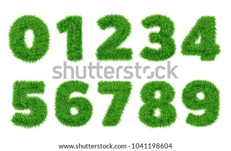 Collection of  numbers.  Green grass filled the character. Zero to nine, figures. isolated from a white background. Vector illustrations