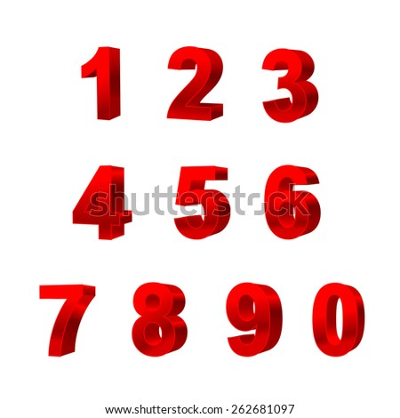 collection of numbers isolated on white background 3D vector illustration #262681097