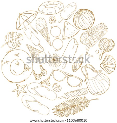 Collection of objects on a summer theme in a round composition in the style of a sketch. Vector drawing in a contour on a white background.