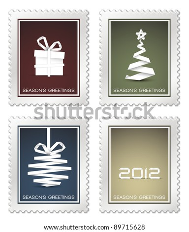 Collection of old vector christmas postage stamps (red, blue, green, yellow)