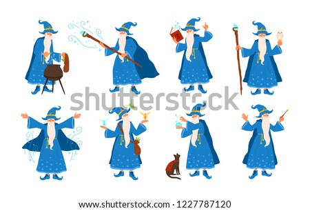 Collection of old wizard making magic isolated on white background. Bundle of elderly sorcerers or fairytale magicians practicing wizardry. Colorful vector illustration in flat cartoon style. Сток-фото ©