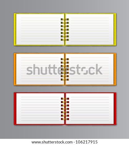 collection of open white notebooks