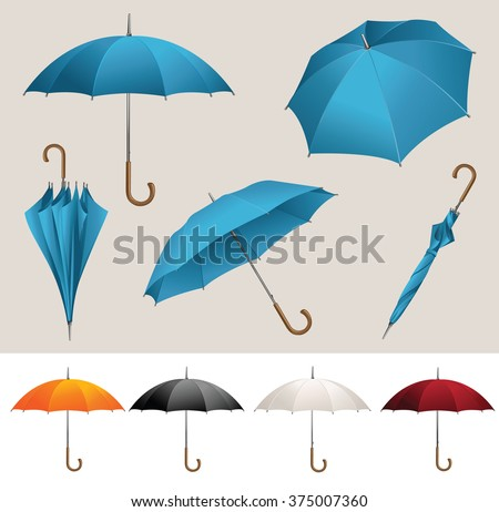 Collection of opened, folded, top view vector blue umbrellas