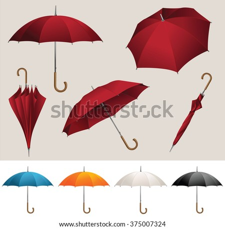 Collection of opened, folded, top view vector red umbrellas
