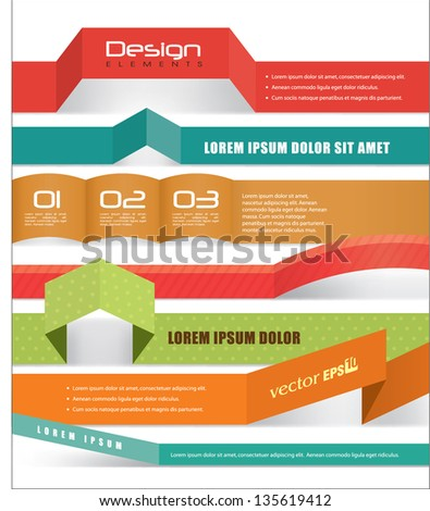 Collection of origami banner design