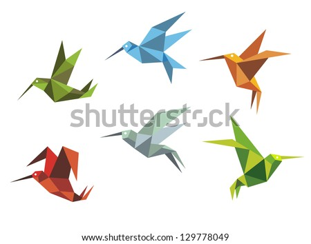 Collection of origami flying birds in the Japanese tradition of folding paper in different positions and colours. Jpeg version also available in gallery