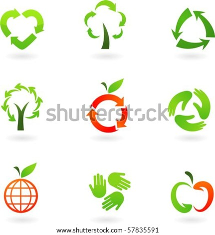 Collection  of original recycling icons