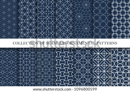 Collection of ornamental seamless vector patterns. Geometric oriental design. You can find repeatable backgrounds in swatches panel.