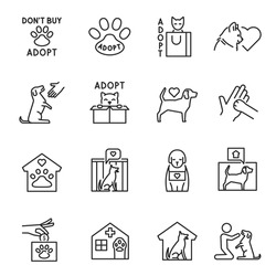 Collection of outline animal shelter monochrome icon vector illustration. Set of cat and dog help donation adoption isolated on white. Bundle of pet care charity friendship linear simple logo