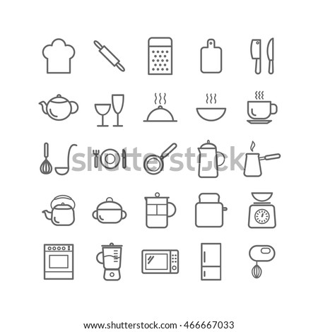 Collection of outline kitchen icons. Thin linear icons for web, mobile apps design
