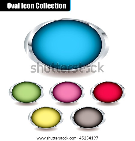 Collection of oval icons with colorful centers and metal bevels and drop shadow ideal for placing your own text on